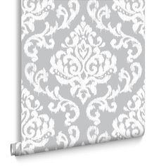 Indian Ink Damask Grey Mist Wallpaper | Graham & Brown UK