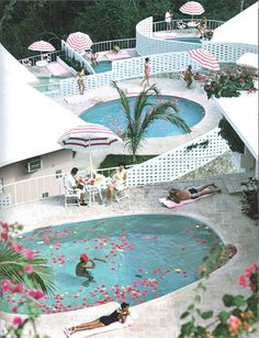 I love the flower petals in this pool via ORCHARD PRESS by Slim Aarons.