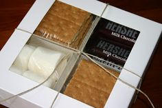 S'mores in a box! Possible office gifts? Easy Gifts, Creative Gifts, Homemade Gifts, Cute Gifts, Hostess Gifts, Holiday Gifts, Christmas Gifts, Holiday Ideas, Christmas Ideas