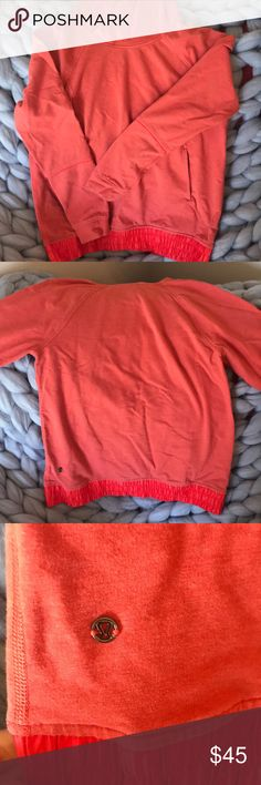 Orange lululemon hoodie Orange lululemon hoodie. Satin material along waist band and the inside of the hood. Full pocket for your hands on front of sweatshirt. I ripped the tag off cause it itched my neck but it is a size 6! lululemon athletica Tops Sweatshirts & Hoodies