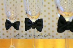 Linen, Lace, & Love: New Year's DIY: Decoupage and Bow Tied Champagne Flutes #DIY #newyears #decoupage #champagne #bowtie #doublebow