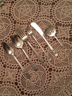 Your place to buy and sell all things handmade Oneida Community, Sugar Spoon, Dessert Spoons, Dinner Fork, Butter Knife, Hand Painted Signs, Pickle, Vintage Signs, Vintage Silver