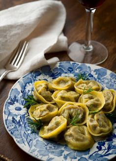 Tortellini made with pigeon or squab or dove. Recipe on http://honest-food.net
