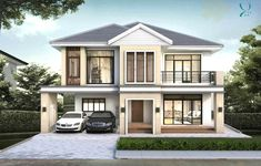 Modern Bungalow House Design With Three Bedrooms - Ulric Home Two Story House Design, Two Story House Plans, Village House Design, Small House Design, Modern House Design, Modern Bungalow House Plans, Small House Floor Plans, Bungalow House Design, Bungalow Designs