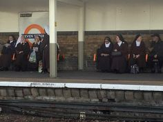 This was the scene on a London train platform yesterday when seven nuns were spotted at Seven Sisters station (pictured). Onlooker Ben Patey, said he had to do a double-take. Tube Stations London, London Underground Stations, Best Funny Pictures, Funny Photos, Funniest Pictures, Train Platform, Political Events, Street Photo, East London