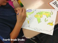Fourth Grade Studio: Learning, Thinking, Creating: World Mapping--and a little art and measurement along the way! Social Studies Lesson Plans, Social Studies Notebook, 6th Grade Social Studies, Social Studies Classroom, Social Studies Activities, Teaching Social Studies, Stem Activities, Teaching Geography, Teaching History