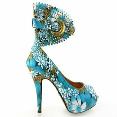 Show Story Multicoloured Floral/Animal Pattern Gladiator Platform Pumps, #Shoes #Footwear #Footcare #Boots #Heels #Highheels #Teens #Fashion