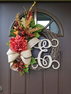 Fall Wreath for Front Door - Hydrangea Wreath with Initial - Autumn Wreath…