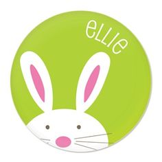 Personalised Bunny Plate Green - $34.95 - These super cute melamine plates will be a big hit in your kids' Easter baskets or at the table for Easter brunch! #sweetcreations #kids #girls #dinnertimeisfun #personalised #dinner #gifts