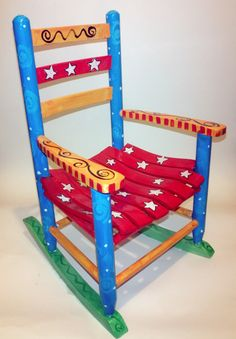Starry Bright Child's Rocking Chair by RockinThePaint on Etsy, $150.00