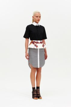 Stripey skirt, removable peplum, preppy top.  We're officially obsessed with Josh Goot