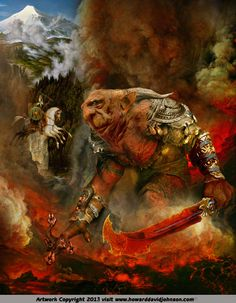 Surtur (Surtr) was said by some to be the son of Múspell, founder of Muspelhiem the volcanic, smoldering and glowing and burning southern region of the first world, yet other legends say he was the first living being in the nine worlds, created from the primal fires. He was the king of the Fire Trolls (or Demons or Giants as they were called). The gigantic warrior kept a vigil in the lava pits of the volcanoes on the outlying regions to defend the land against intruders.
