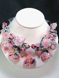 Handwoven Necklace,semi-precious stones lampwork,rose quartzs,pearls,