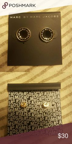 MOVING SALE Nwt marc by marc jacobs logo stud Gold and black. Never worn Marc by Marc Jacobs Jewelry Earrings
