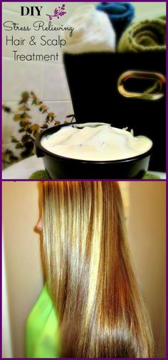 DIY Stress Relieving Hair & Scalp Treatment!!! 1 cup mayonnaise, 1 egg, 1 TBspn olive oil, 1 drop lavender oil, shower cap or plastic shopping bag