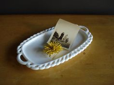 Vintage Lattice Milkglass Tray - Small Milk Glass Tray or Dish by HappyGoVintage on Etsy https://www.etsy.com/listing/215444904/vintage-lattice-milkglass-tray-small