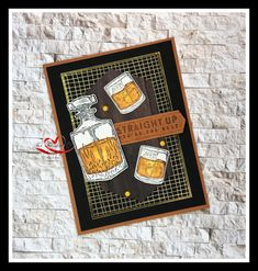 I often struggle to make a masculine card. Well not any more. With the Whiskey Business stamp set making masculine cards is a breeze. All the details to make this card are on my blog. Click the link below. Father Birthday Cards, Fathers Day Cards, Handmade Birthday Cards, Greeting Cards Handmade, Masculine Birthday Cards, Masculine Cards, Business Stamps, Business Cards, Paint Cards