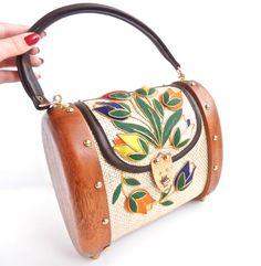 Vintage Wooden Flower Bag Raffia Barrel Summer by MaejeanVINTAGE. $65.00 USD, via Etsy.