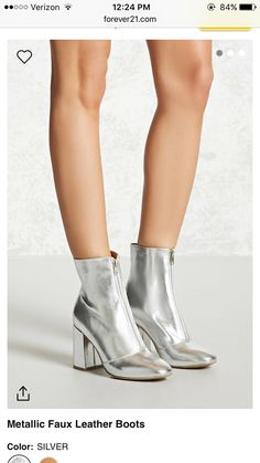 official photos 8037e 7d9a7 A pair of metallic faux leather ankle boots featuring an almond toe, an  exposed zipper front, and a block heel. This is an independent brand and  not a ...