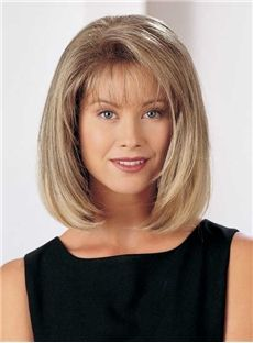 Elegant Medium Straight Capless Blonde 12 Inches Synthetic Hair Bob Wig