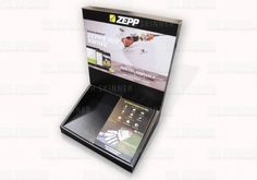 Leaflet Dispenser For Golfing Product – WH Skinner  Cardboard countertop display (CDU) to advertise golfing mobile app | Informative and educational cardboard display with integrated leaflet dispenser in tray | Over-folded cardboard edges on the display for a premium look and feel