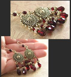 Red Chandelier Earrings Garnet Red Crystal Earrings Antique Gold Earrings Scarlet Red Drop Earrings. $29.00, via Etsy.