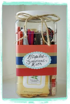 Hospital survival kit - could add gum, earbuds, lots of other items for a friend in need.