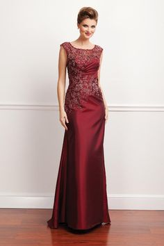 Sheath Burgundy Taffeta Scoop Floor-Length Dress