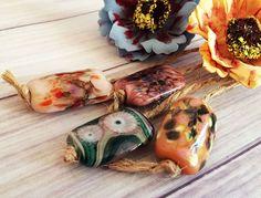 Lampwork Handmade Glass Beads From Murano Glass Multi-Color Rectangle 4 Pcs #HandmadeLampworkBeads #Lampwork