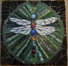 Dragonfly mosaic with glass, vitreous tile -- with Beth Klingher @ Eli Whitney Museum - Hamden CT