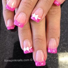 Pink and White Rock Star French Nails