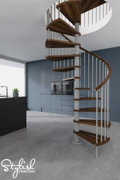 Gamia Wood Deluxe Spiral Stair Kit Complete With Solid Beech Treads And  Handrail   Silver Grey Metalwork And Dark Walnut Shade Timber   Choice Of 3  ...