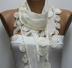 Creamy  White  Scarf  -  by fatwoman on Etsy, $15.00