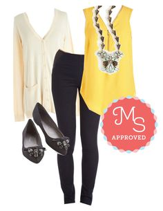 Affixed on You Top in Goldenrod by modcloth on Polyvore featuring CL by Chinese Laundry, layers, outfits and modcloth