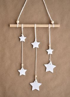 DIY kit wall hanging stars white clay stars DIY wall hanging Stars wall hanging DIY wall decor Wall hanging kit make your own walldeco Clay Christmas Decorations, Easy Christmas Crafts, Simple Christmas, Christmas Ornaments, Halloween Decorations, Xmas, Christmas Gifts, Holiday, Decoration Ikea