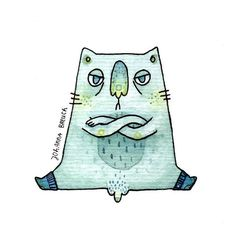 'I'll stay like this until you hand over the treats!' ~finished  #cat #illustration #watercolor #asshole cat #blue #green
