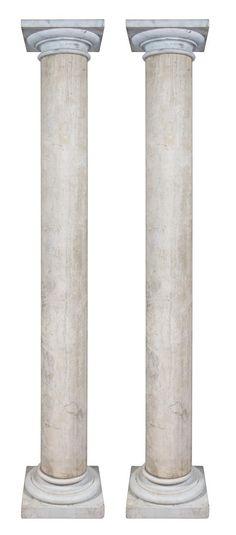 A Pair of Travertine Marble Columns  |  Palm Beach Winter Auction  |  Palm Beach, Florida