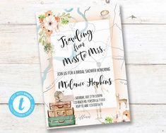 Traveling From Miss to Mrs Invitation, Traveling Bridal Shower,  Adventure Love is a Journey Instant download PRINTABLE DIGITAL DIY Travel Bridal Showers, From Miss To Mrs, Party Printables, Birthday Celebration, Save Yourself, Rsvp, Traveling, Journey, Invitations