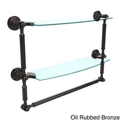 Allied Dottingham Collection 18-inch 2-tiered Glass Shelf with Integrated Towel Bar