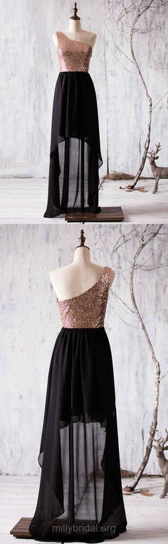 High Low Bridesmaid Dress 2018, Cheap Bridesmaid Dress A-line, Chiffon Sequined Bridesmaid Dresses Asymmetrical Ruffles, One Shoulder Bridesmaid Dresses Black Modest