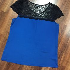 Express Lace Blue Polyester Top Good Condition - only selling bc it doesn't fit me anymore.  PLEASE NOTE: there appears to be a spot.  Never noticed until now, may come out? Express Tops