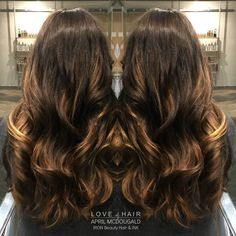 Balayage, Ombre, Sombre, Caramel Highlights, Brown Hair, Brown and Blonde Highlights, Joico Color, Pretty Hair, Curls, Long hair