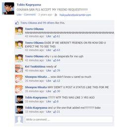 the stupid stuff haikyuu! characters would post & comment if they had fb accounts ~ ( ͡° ͜ʖ ͡°) Haikyuu Karasuno, Haikyuu Funny, Kageyama Tobio, Haikyuu Fanart, Kagehina, Kuroo, Oikawa, Haikyuu Volleyball, Volleyball Anime
