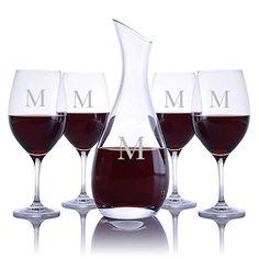 8850b6fa8e9 Buy Personalized Ravenscroft Lead-free Crystal Cristoff Wine Decanter & 4  Stemmed Vintner's Choice Bordeaux / Merlot / Cabernet Red Wine Glasses  Engraved ...