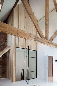 all - beam + wood paneling + brick + white