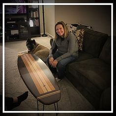 Old School White and Wood grain Surfboard Coffee Table Surfboard Furniture End Table Table Surf, Surfboard Coffee Table, Wooden Surfboard, Coffee Table Stand, Coffee Tables, Furniture Grade Plywood, Wood Furniture, House Plaques, Light Golden Brown