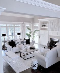 When we mention white room decor we have plenty on our mind. This edition of Shop The Look is all about how you can and will achieve a white room design in time Living Room Decor On A Budget, Glam Living Room, Elegant Living Room, Interior Design Living Room, Home And Living, Living Room Designs, White Living Room Furniture, White Interior Design, White Room Decor