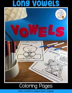 Your Students will ADORE these Coloring Book Pages for Long Vowels! Add it to your plans to compliment any Long Vowels Unit! 70 Coloring Pages For Some Long Vowel Fun! Perfect for bulletin board First Grade Classroom, First Grade Math, Coloring Apps, Coloring Book Pages, First Day Activities, Fun Activities, Reading Centers, Writing Centers, Literacy Centers