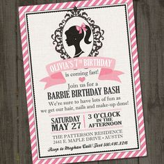 Inspired PRINTABLE Barbie Invitation Barbie by partymonkey on Etsy