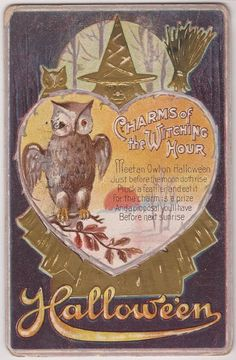 Halloween Postcard JACKSON Charms of the Witching Hour - OWL / Gold Witch 1911